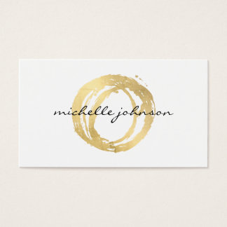 Luxe Faux Gold Painted Circle Designer Logo Business Card
