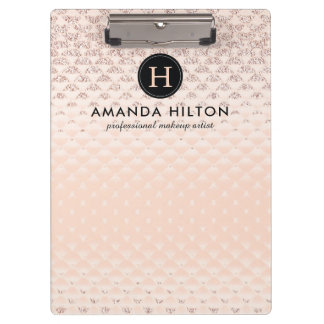 Luxe Monogram Rose Gold Clipboard