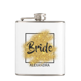 Luxurious golden particles bridal shower Flask