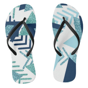 Luxury 90s Abstract   Turquoise Navy Blue Pattern Jandals