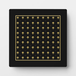 Luxury Black and Gold Vintage Damask Pattern Plaque