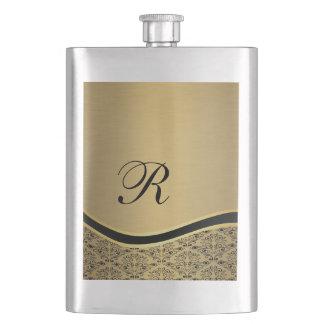 Luxury classy golden damask monogram no.1 hip flask