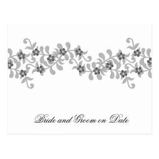 Luxury Elegant Grey Spring Floral Save date card Postcard