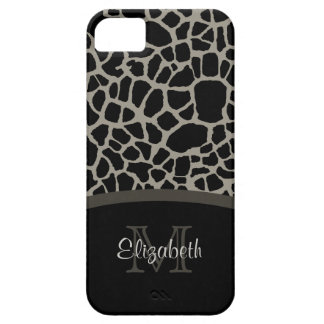 Luxury Giraffe Print Elegant Monogram and Name Case For The iPhone 5