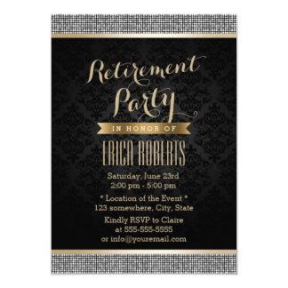 Luxury Glitter Border Dark Damask Retirement Party 13 Cm X 18 Cm Invitation Card