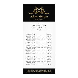 Luxury Gold Hair Stylist Beauty Salon Price List Rack Cards