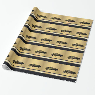 luxury golden  vintage classy old car personalized gift wrap