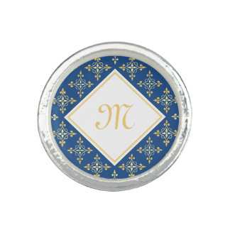 Luxury Monogram Blue and Gold Quatre Floral