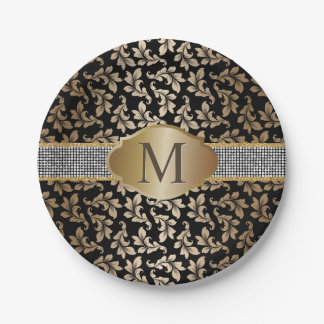 Luxury Monogram Silver Glitter Belt Gold Damask 7 Inch Paper Plate