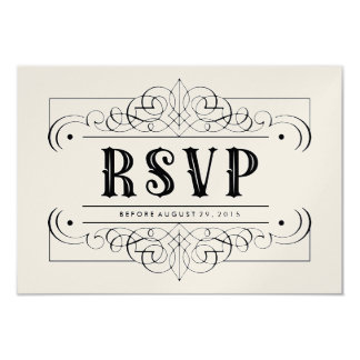 "Luxury Paper South Western RSVP Card - Black White 3.5"" X 5"" Invitation Card"