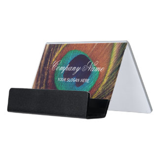 Luxury peacock feather peafowl eye custom desk business card holder