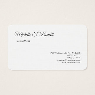 Luxury Premium Linen Black White Script Minimalist Business Card