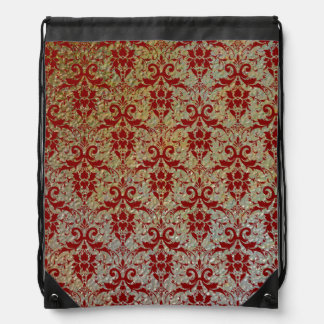 Luxury Red Damask on Stamped Metal Texture Look Drawstring Bag