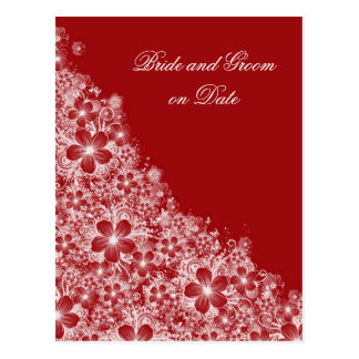 Luxury Red Floral Spring Blanket Save date card Postcard