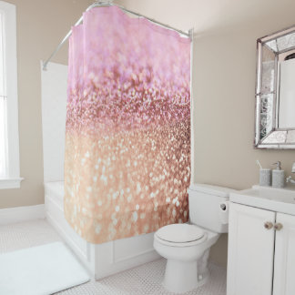 Luxury Sparkling Pink Ombre Glitter Gradient Shower Curtain