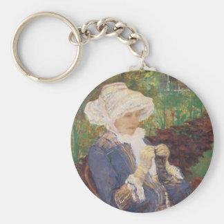 Lydia Crocheting in Garden at Marly, Mary Cassatt Basic Round Button Key Ring