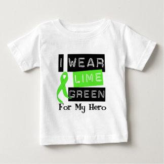 Lymphoma I Wear Lime Green Ribbon For My Hero Baby T-Shirt
