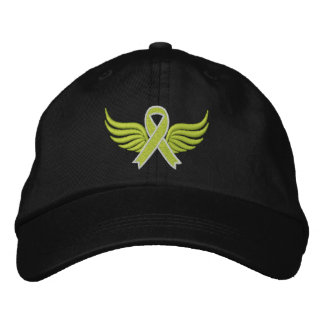 Lymphoma Lime Green Ribbon Wings Embroidered Baseball Caps