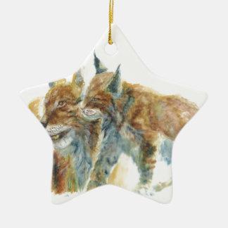 Lynx design ceramic star decoration