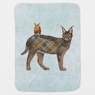 LYNX & OWL BLUE Baby Blanket