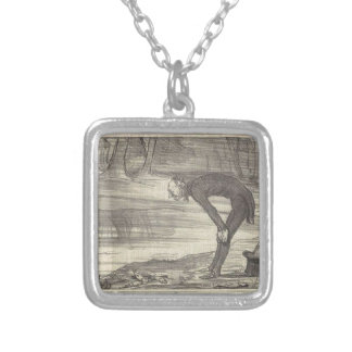 M. Coste by Honore Daumier Square Pendant Necklace