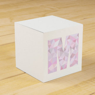 M - Low Poly Triangles - Neutral Pink Purple Gray Favour Box