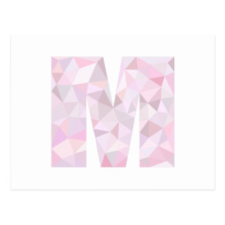 M - Low Poly Triangles - Neutral Pink Purple Gray Postcard