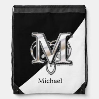 M - Modern Metallic Monogram Drawstring Bag