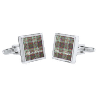 MacAndrew clan Plaid Scottish kilt tartan Silver Finish Cufflinks