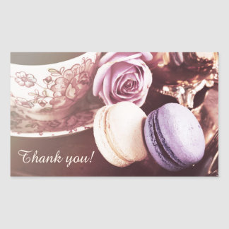 Macarons and silverware teatime thank you rectangular sticker