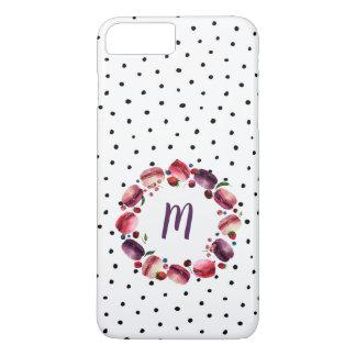Macarons Wreath Monogram Black White Dot iPhone 8 Plus/7 Plus Case