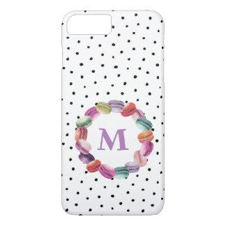 Macarons Wreath Monogram Black White Dots iPhone 8 Plus/7 Plus Case