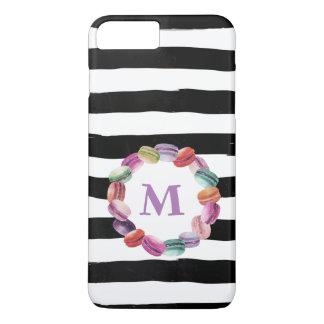 Macarons Wreath Monogram Black White Stripes iPhone 8 Plus/7 Plus Case