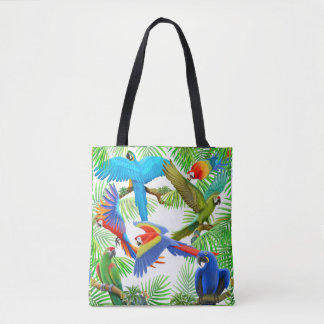 Macaw Parrot Jungle All Over Tote Bag
