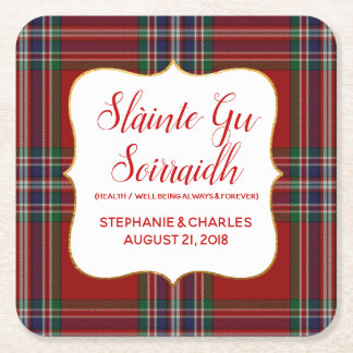 MacFarlane Plaid Gaelic Wedding Paper Coasters