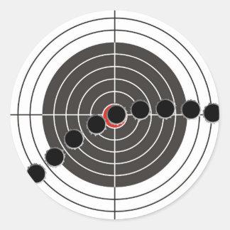 Machine gun bullet holes over shooting target classic round sticker