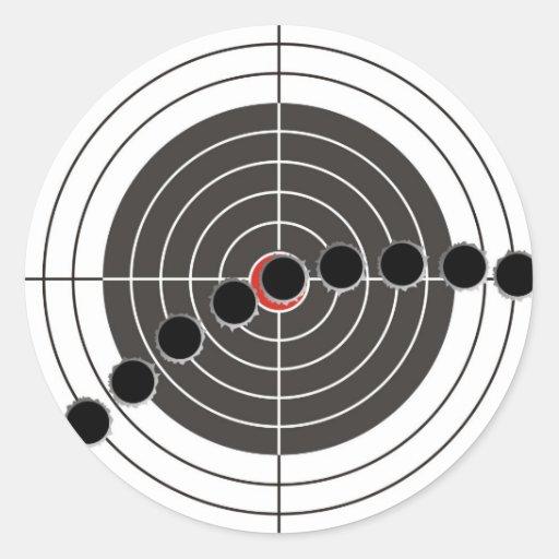 Machine gun bullet holes over shooting target round stickers
