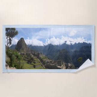 Machu Picchu Peru, blue border Beach Towel