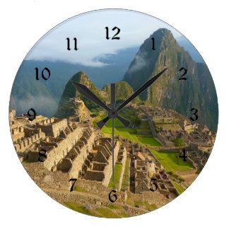 Machu Picchu wall clock with black numbers