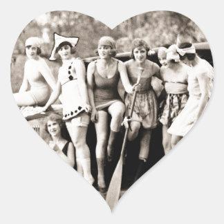 Mack Sennett Girls Bathing Beauty Queens Vintage Heart Sticker