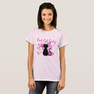 Mad Cat Lady Cat in Pink Flowers T-Shirt