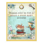 Mad Hatter & Cat Bring a Book Baby Shower Custom Invite