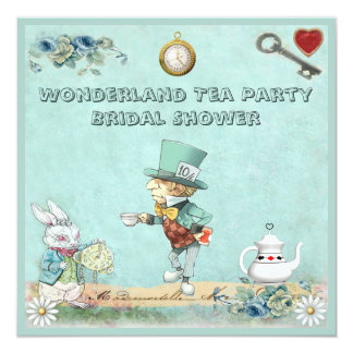 Mad Hatter Wonderland Tea Party Bridal Shower 13 Cm X 13 Cm Square Invitation Card