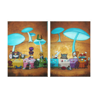 Mad Hatter's Tea Party Two Panel Canvas Print