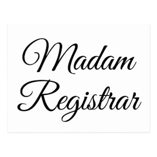 Madam Registrar Postcard