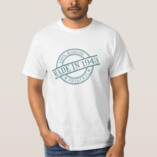 Made in 1943 Circular Rubber Stamp Style Logo T-Shirt
