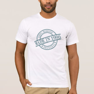 Made in 1995 Circular Rubber Stamp Style Logo T-Shirt