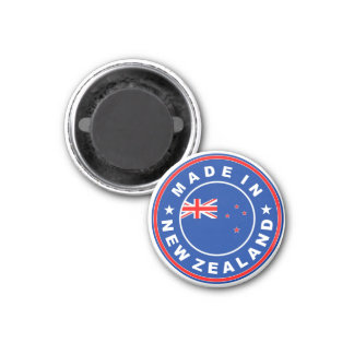 made in new zealand country flag product label 3 cm round magnet