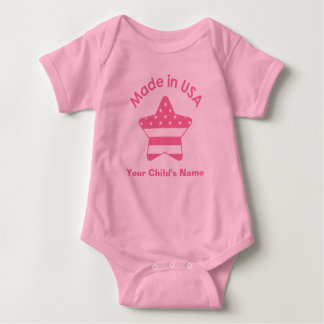 Made In USA Pink Baby Bodysuit