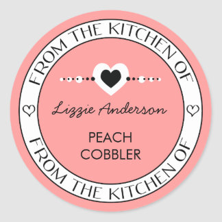 Made with Love From the Kitchen of Label | Pink Round Sticker